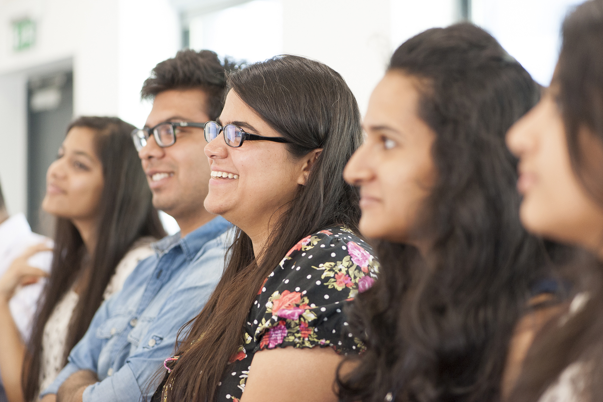 Students smiling during lecture