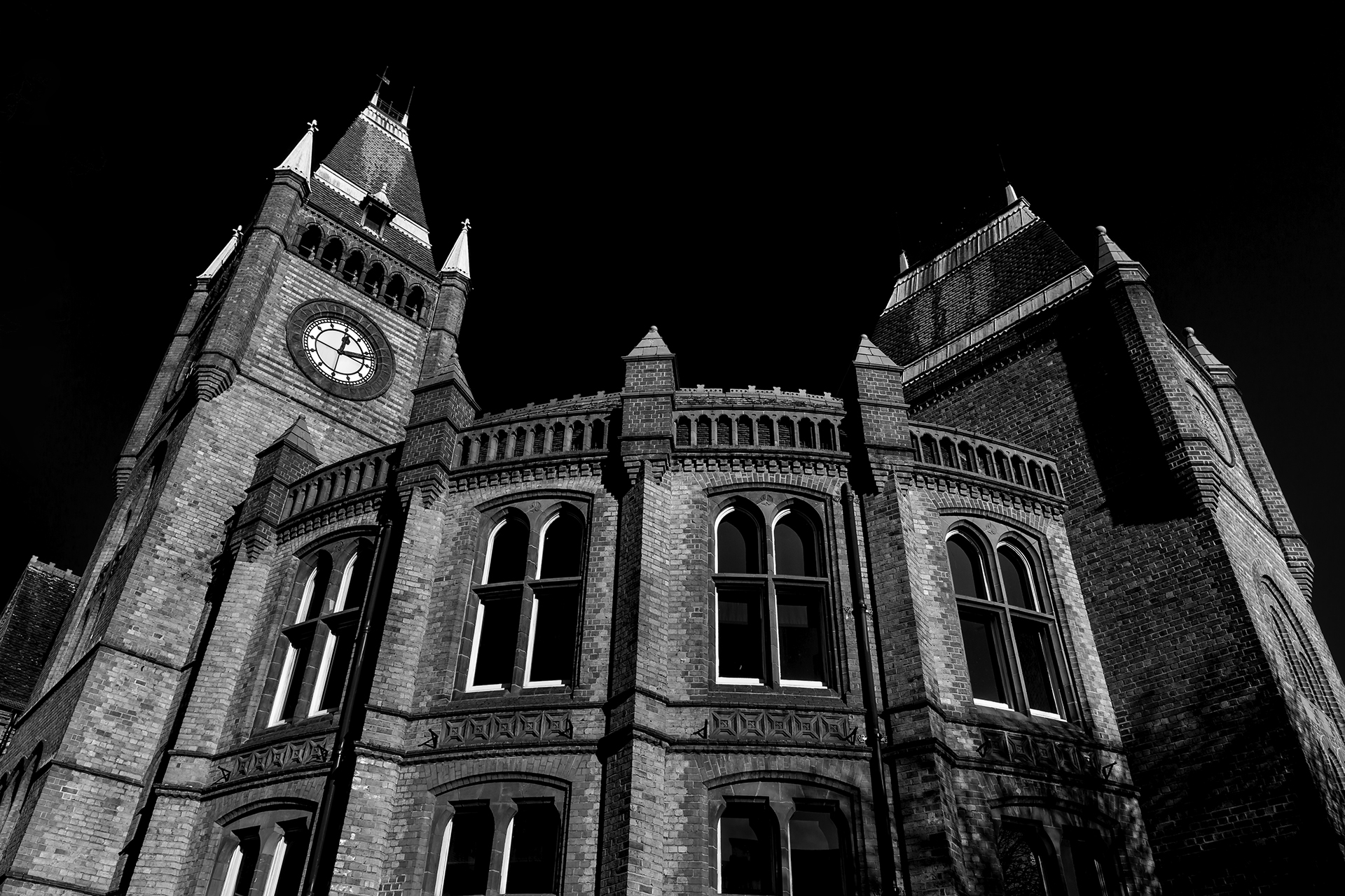 Reading Town Hall in extreme B&W