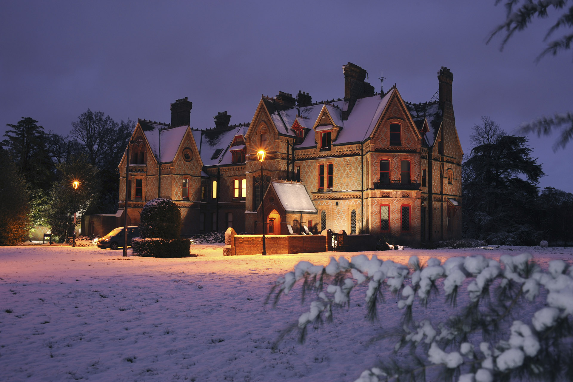 Foxhill House on a wintery evening